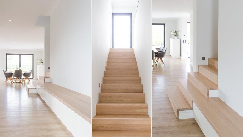 Treppe und Blickachse ins Esszimmer