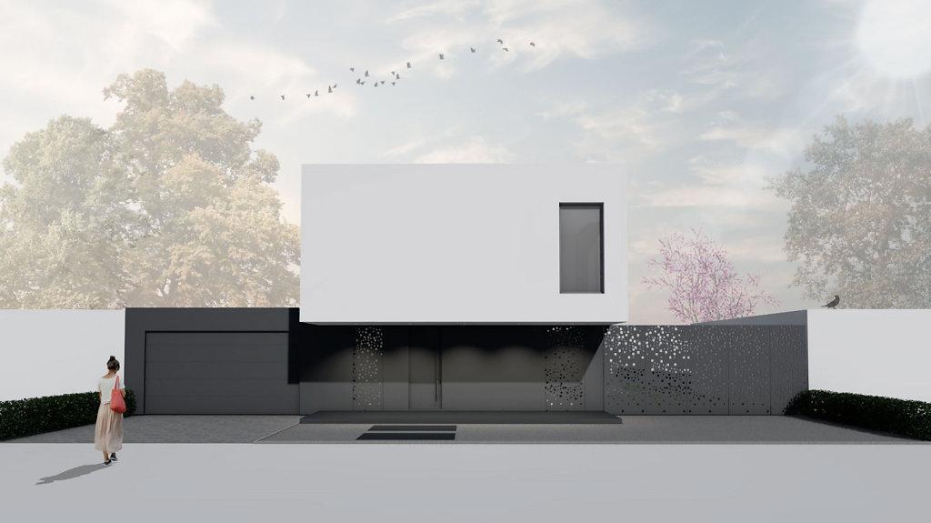 11.2018 Entwurf eines modernen Flachdachhaus