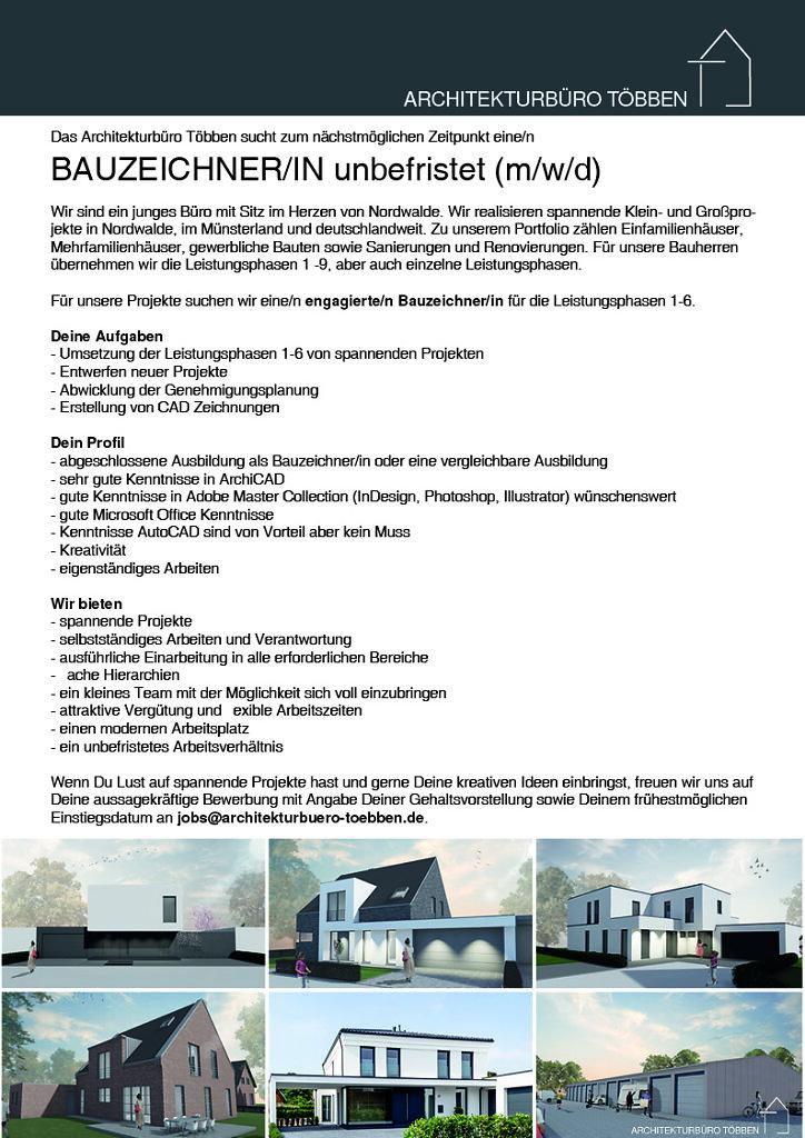 Bauzeichner/in gesucht - Jetzt bewerben!
