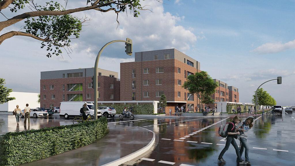 Wohnquartier Westtorhöfe - Blick von der Straßenkreuzung